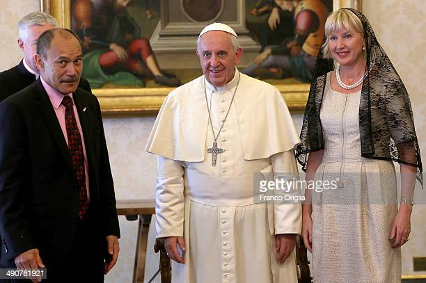 Pope Francis meets New Zealand's GovernorGeneral Jerry Mateparae and his wife Janine Mateparae during a private audience at the Apostolic Palace on...