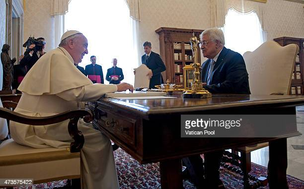 Pope Francis meets Palestinian President Mahmoud Abbas also known as Abu Mazen during an audience at the Apostolic Palace on May 16 2015 in Vatican...