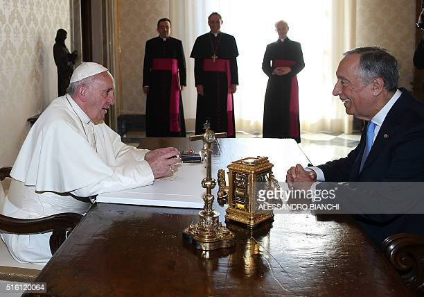 Pope Francis meets Portuguese President Marcelo Rebelo de Sousa during a private audience at the Vatican on March 17 2016 AFP PHOTO POOL / ALESSANDRO...