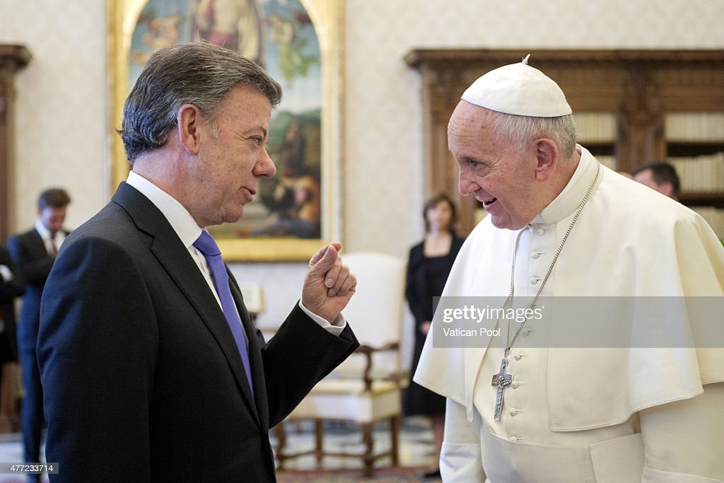 Pope Francis meets President of Colombia <a gi-track='captionPersonalityLinkClicked' href=/galleries/search?phrase=Juan+Manuel+Santos&family=editorial&specificpeople=974752 ng-click='$event.stopPropagation()'>Juan Manuel Santos</a> on June 15, 2015 in Vatican City, Vatican. Among the issues considered, special attention was given to the state of the reconciliation process in Colombia, the complexity of the negotiations that this entails, and the prospects that could open the way to achieving a peace agreement.