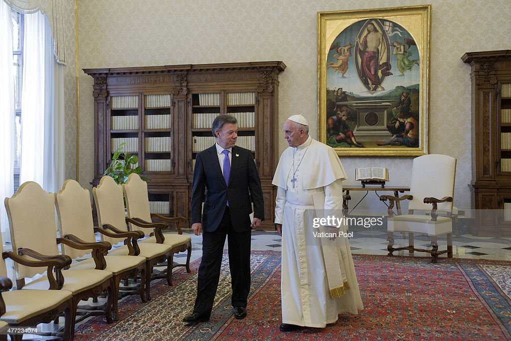 <a gi-track='captionPersonalityLinkClicked' href=/galleries/search?phrase=Pope+Francis&family=editorial&specificpeople=2499404 ng-click='$event.stopPropagation()'>Pope Francis</a> meets President of Colombia <a gi-track='captionPersonalityLinkClicked' href=/galleries/search?phrase=Juan+Manuel+Santos&family=editorial&specificpeople=974752 ng-click='$event.stopPropagation()'>Juan Manuel Santos</a> on June 15, 2015 in Vatican City, Vatican. Among the issues considered, special attention was given to the state of the reconciliation process in Colombia, the complexity of the negotiations that this entails, and the prospects that could open the way to achieving a peace agreement.