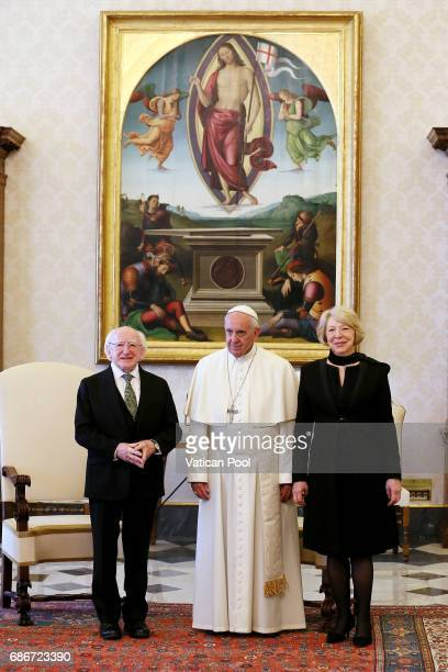 Pope Francis meets President of Ireland Michael Daniel Higgins and wife Sabina Coyne at the Apostolic Palace on May 22 2017 in Vatican City Vatican...
