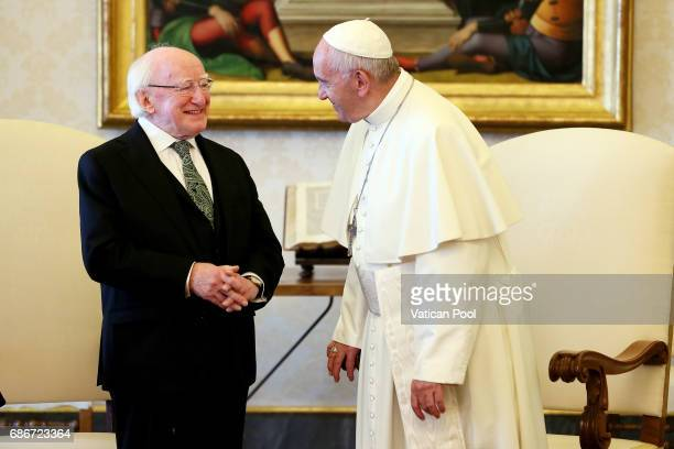 Pope Francis meets President of Ireland Michael Daniel Higgins at the Apostolic Palace on May 22 2017 in Vatican City Vatican Pope Francis will meet...