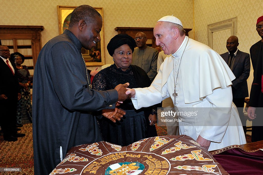 <a gi-track='captionPersonalityLinkClicked' href=/galleries/search?phrase=Pope+Francis&family=editorial&specificpeople=2499404 ng-click='$event.stopPropagation()'>Pope Francis</a> meets President of Nigeria <a gi-track='captionPersonalityLinkClicked' href=/galleries/search?phrase=Goodluck+Jonathan&family=editorial&specificpeople=4124968 ng-click='$event.stopPropagation()'>Goodluck Jonathan</a> and his wife Patience Jonathan at his private library in the Apostolic Palace on March 22, 2014 in Vatican City, Vatican. The leaders spoke on the cordial relationship between the Vatican and Nigeria with the Pope's increased hope for the protection of human dignity throughout the African nation.