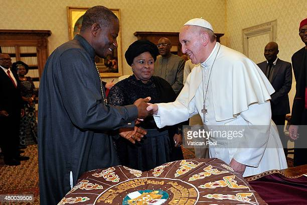 Pope Francis meets President of Nigeria Goodluck Jonathan and his wife Patience Jonathan at his private library in the Apostolic Palace on March 22...