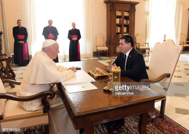 Pope Francis meets President of Paraguay Horacio Manuel Cartes Jara at the Apostolic Palace on November 9 2017 in Vatican City Vatican In a post on...