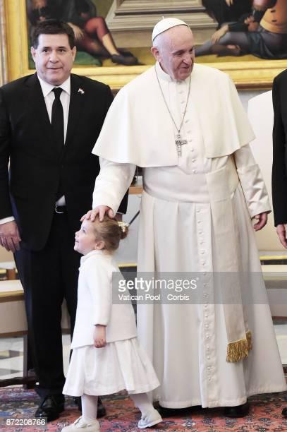 Pope Francis meets President of Paraguay Horacio Manuel Cartes Jara on November 9 2017 in Vatican City Vatican