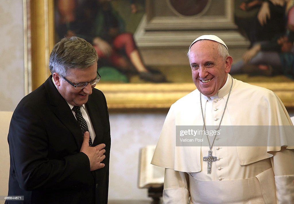<a gi-track='captionPersonalityLinkClicked' href=/galleries/search?phrase=Pope+Francis&family=editorial&specificpeople=2499404 ng-click='$event.stopPropagation()'>Pope Francis</a> meets President Of Poland <a gi-track='captionPersonalityLinkClicked' href=/galleries/search?phrase=Bronislaw+Komorowski&family=editorial&specificpeople=836872 ng-click='$event.stopPropagation()'>Bronislaw Komorowski</a> at his private library in the Apostolic Palace on April 26, 2014 in Vatican City, Vatican. Royal families and heads of State are arriving in Rome for tomorrow's canonization of popes John Paul II and John XXIII.