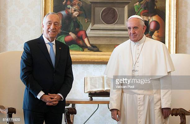Pope Francis meets President of Portugal Marcelo Rebelo de Sousa at the Apostolic Palace on March 17 2016 in Vatican City Vatican