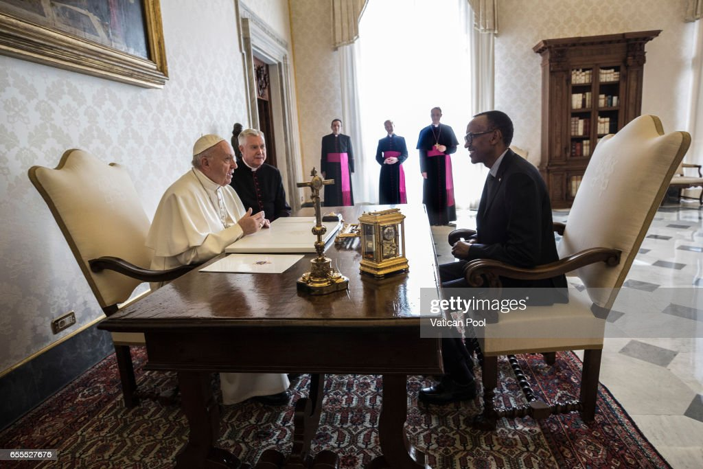 Pope Francis meets President of Ruanda Paul Kagame during an audience at the Apostrolic Palace on March 20, 2017 in Vatican City, Vatican. A statement from Greg Burke, the Director of the Holy See Press Office, has confirmed that Pope Francis will visit Egypt at the end of April.