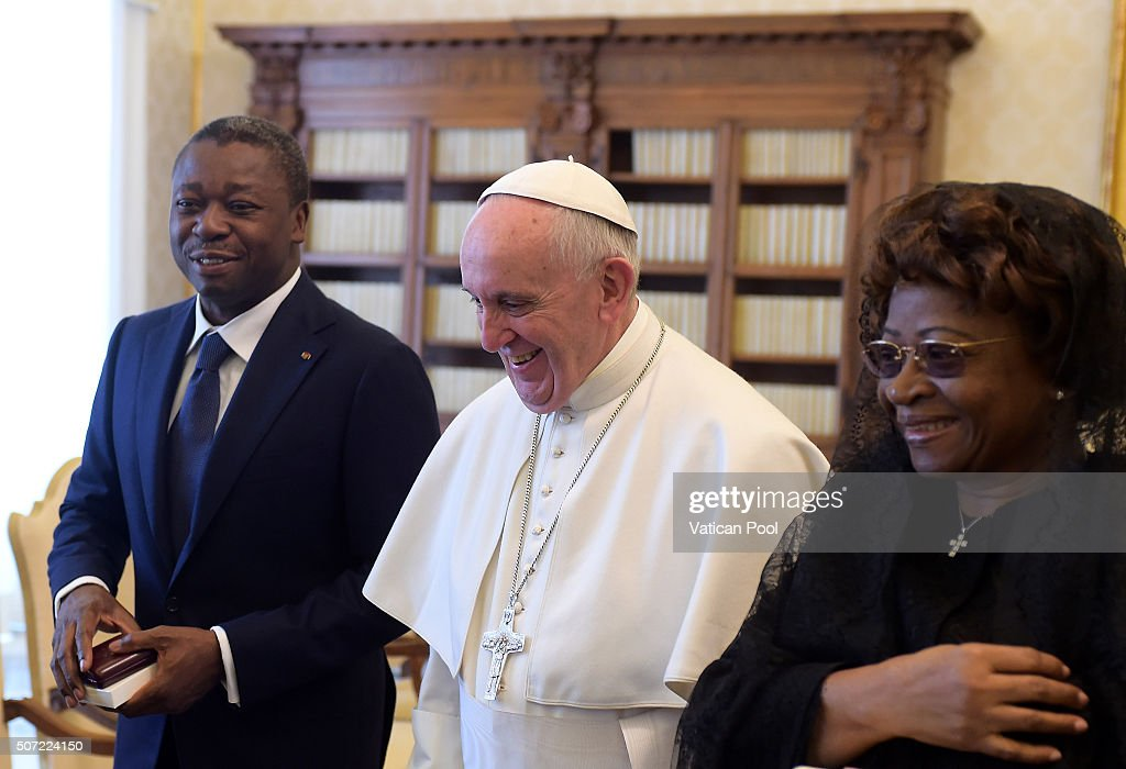 <a gi-track='captionPersonalityLinkClicked' href=/galleries/search?phrase=Pope+Francis&family=editorial&specificpeople=2499404 ng-click='$event.stopPropagation()'>Pope Francis</a> meets President of Togo Faure Gnassingbe and his wife Nana Ama Kufuor at the Apostolic Palace on January 28, 2016 in Vatican City, Vatican. <a gi-track='captionPersonalityLinkClicked' href=/galleries/search?phrase=Pope+Francis&family=editorial&specificpeople=2499404 ng-click='$event.stopPropagation()'>Pope Francis</a> made a special appeal for suffering Christians in the Middle Ease on yesterday, during the course of his weekly General Audience in St. Peter's Square.