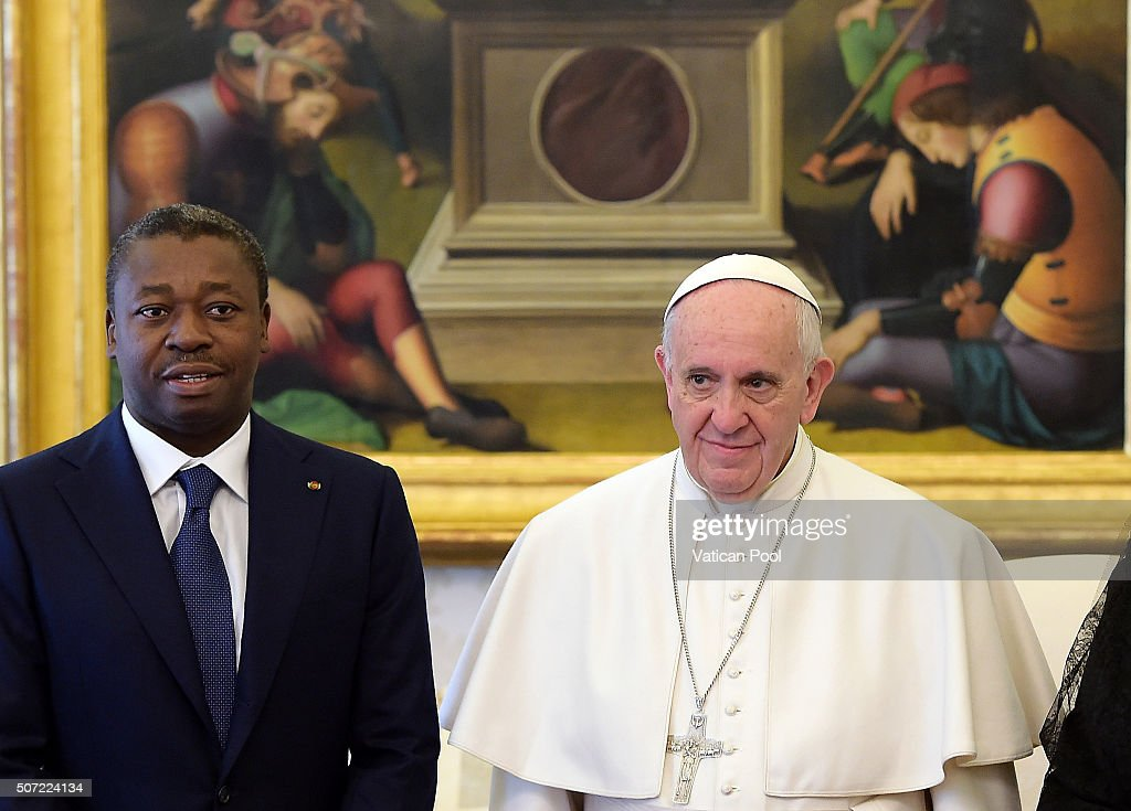 Pope Francis meets President of Togo Faure Gnassingbe at the Apostolic Palace on January 28, 2016 in Vatican City, Vatican. Pope Francis made a special appeal for suffering Christians in the Middle Ease on yesterday, during the course of his weekly General Audience in St. Peter's Square.