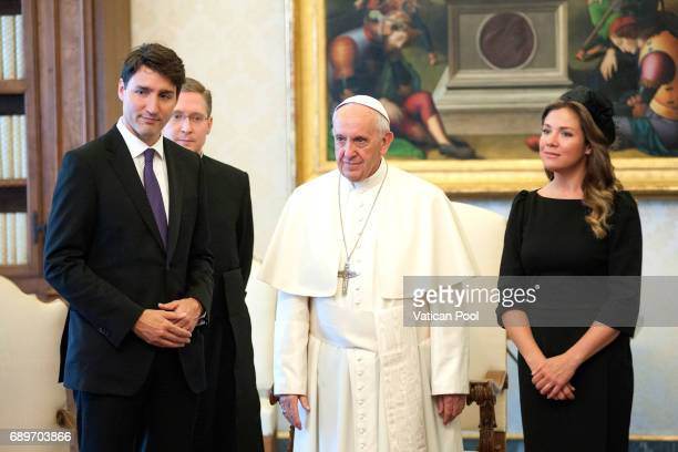 Pope Francis meets Prime Minister of Canada Justin Trudeau and his wife Sophie Gregoire at the Apostolic Palace on May 29 2017 in Vatican City...