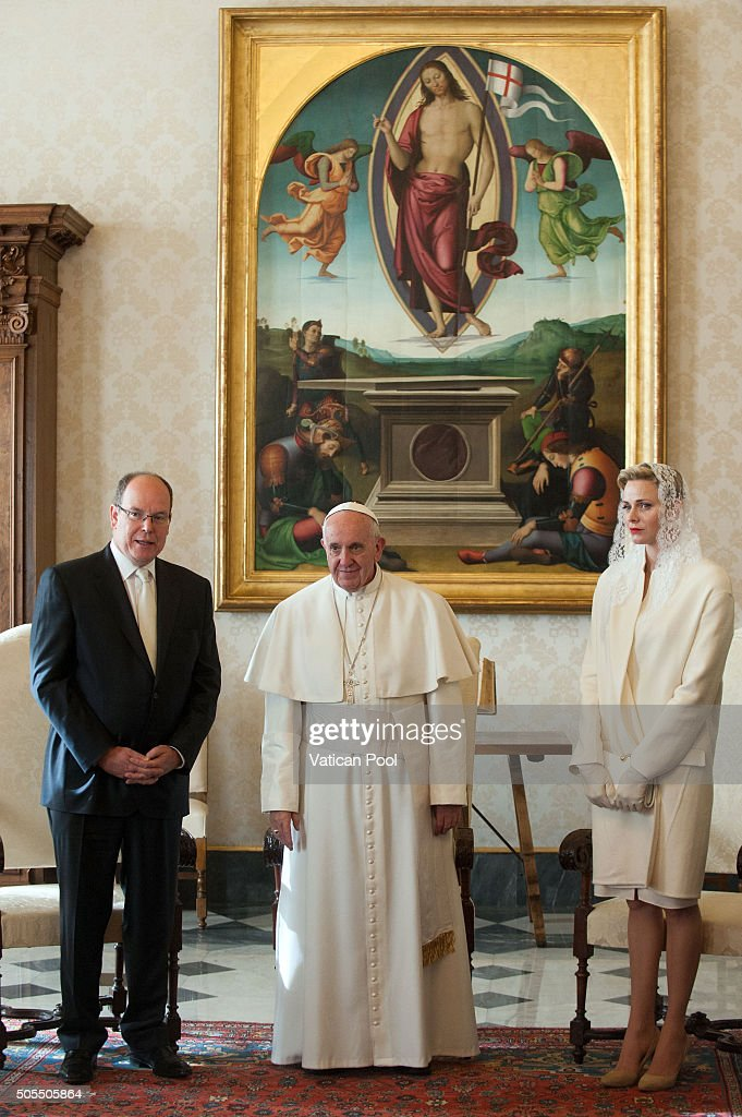 Pope Francis meets Prince Albert II of Monaco and Princess Charlene of Monaco during at the Apostolic Palace on January 18, 2016 in Vatican City, Vatican.