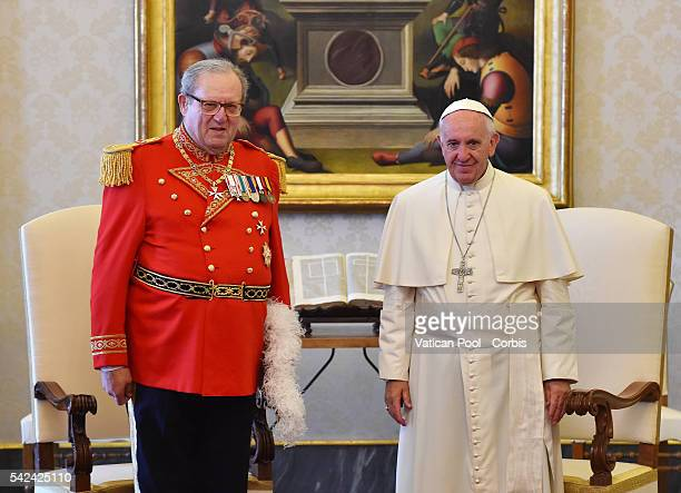 Pope Francis meets Prince and Grand Master of the Sovereign Military Order of Malta Fra' Matthew Festing on June 23 2016 in Vatican City Vatican