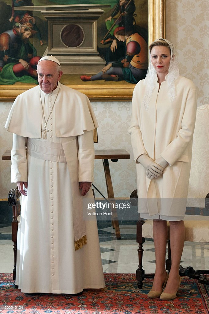 Pope Francis meets Princess Charlene of Monaco at the Apostolic Palace on January 18, 2016 in Vatican City, Vatican.