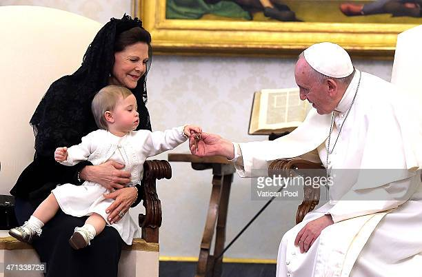 Pope Francis meets Queen Silvia of Sweden and her granddaughter Princess Leonore during a private audience at the Apostolic Palace on April 27 2015...