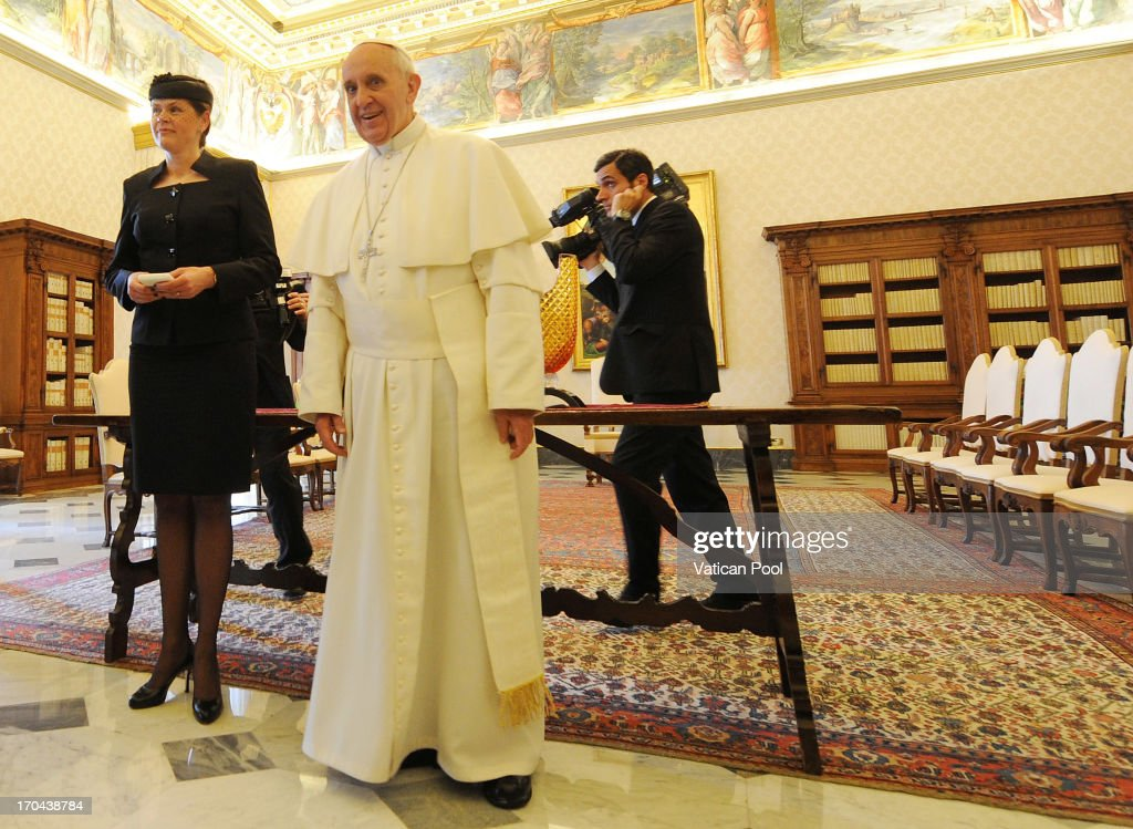 <a gi-track='captionPersonalityLinkClicked' href=/galleries/search?phrase=Pope+Francis&family=editorial&specificpeople=2499404 ng-click='$event.stopPropagation()'>Pope Francis</a> meets Slovenia Prime Minister Alenka Bratusek at his private library on June 13, 2013 in Vatican City, Vatican.