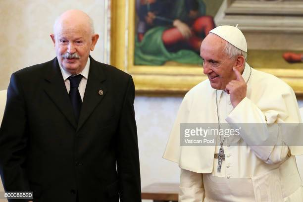 Pope Francis meets the Lieutenant of Grand Master of The Sovereign Military Order Of Malta Fra Giacomo Dalla Torre del Tempio di Sanguinetto at the...