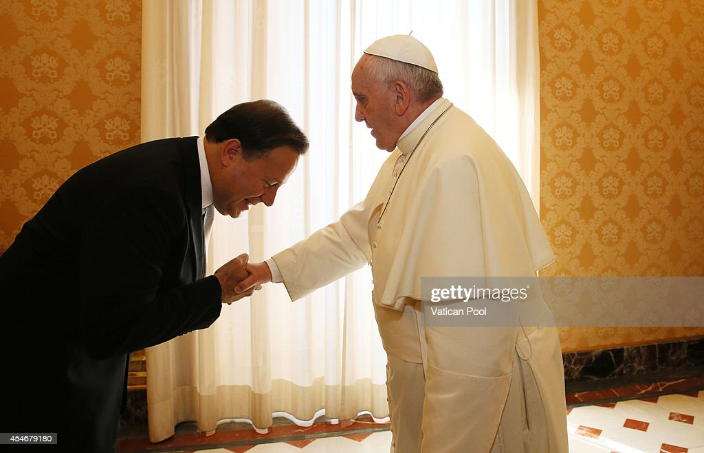 <a gi-track='captionPersonalityLinkClicked' href=/galleries/search?phrase=Pope+Francis&family=editorial&specificpeople=2499404 ng-click='$event.stopPropagation()'>Pope Francis</a> meets the President of Panama <a gi-track='captionPersonalityLinkClicked' href=/galleries/search?phrase=Juan+Carlos+Varela&family=editorial&specificpeople=5906542 ng-click='$event.stopPropagation()'>Juan Carlos Varela</a> at his private library of the Apostolic Palace on September 5, 2014 in Vatican City, Vatican. Peace and dialogue were at the centre of the two private audiences held By <a gi-track='captionPersonalityLinkClicked' href=/galleries/search?phrase=Pope+Francis&family=editorial&specificpeople=2499404 ng-click='$event.stopPropagation()'>Pope Francis</a> on Thursday morning, one with the ex-President of Israel, Shimon Peres, and another with Prince El Hassan bin Talal of Jordan.
