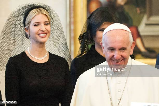 Pope Francis meets United States First Lady Melania Trump and Ivanka Trump at the Apostolic Palace on May 24 2017 in Vatican City Vatican The...
