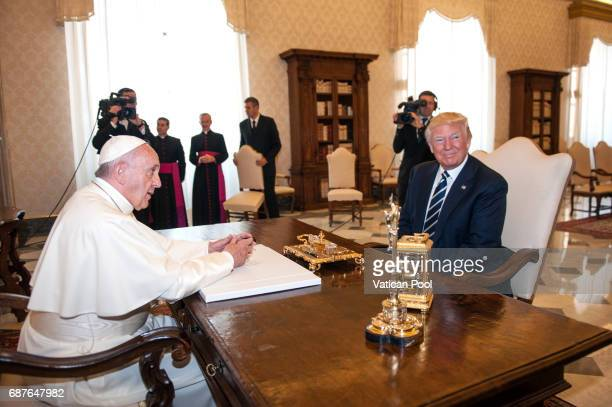 Pope Francis meets United States President Donald Trump at the Apostolic Palace on May 24 2017 in Vatican City Vatican The President Trump will...