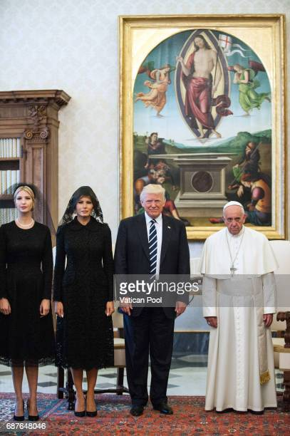 Pope Francis meets United States President Donald Trump First Lady Melania Trump and Ivanka Trump at the Apostolic Palace on May 24 2017 in Vatican...