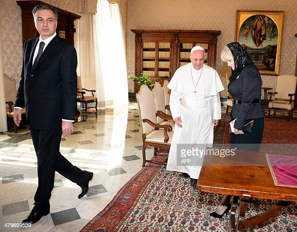Pope Francis meets with President of Montenegro Filip Vujanovic and wife Svetlana Vujanovic during a private audience in the pontiff library on 20...