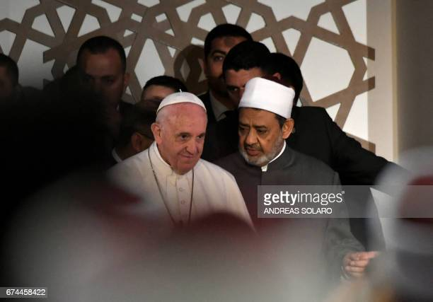 Pope Francis meets with Sheikh Ahmed alTayeb the Grand Imam of AlAzhar during a visit to the prestigious Sunni institution in Cairo on April 28 2017...