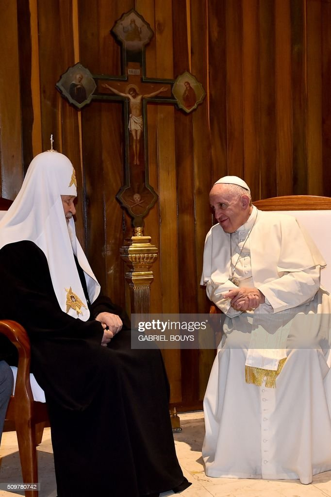 Pope Francis meets with the head of the Russian Orthodox Church Patriarch Kirill in Havana on February 12 2016 The meeting is the first of its kind...