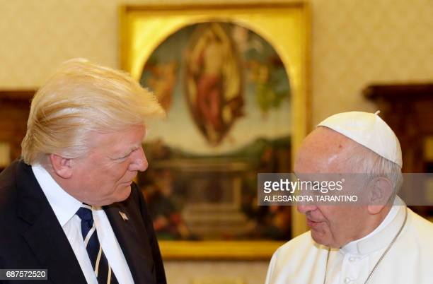 Pope Francis meets with US President Donald Trump during a private audience at the Vatican on May 24 2017 US President Donald Trump met Pope Francis...