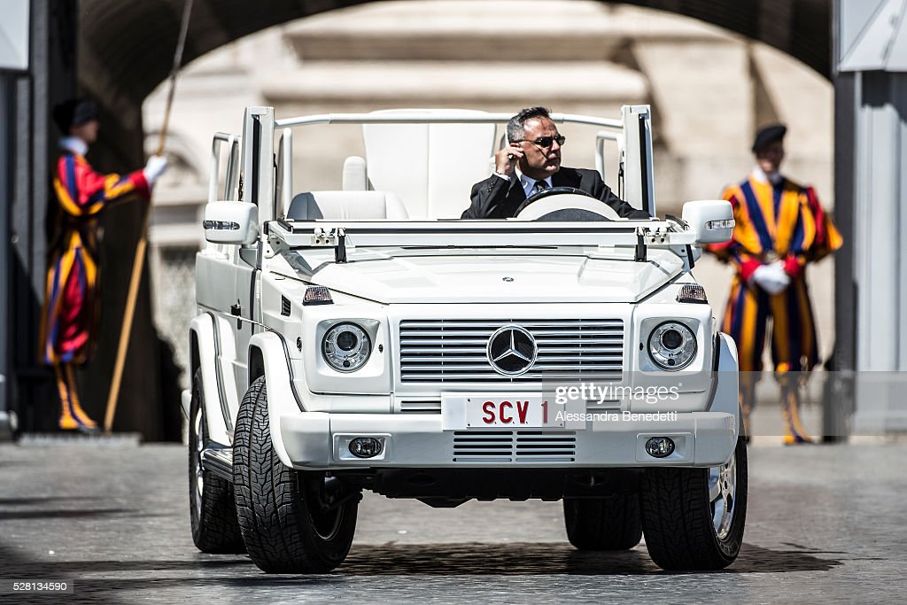 <a gi-track='captionPersonalityLinkClicked' href=/galleries/search?phrase=Pope+Francis&family=editorial&specificpeople=2499404 ng-click='$event.stopPropagation()'>Pope Francis</a> Popemobile stands parked during his General Weekly Audience in St. Peter's Square in Vatican City, Vatican.(Photo by Alessandra Benedetti/Corbis via Getty Images).