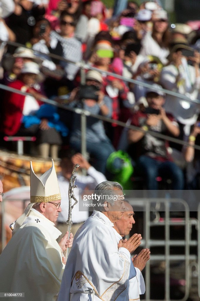 <a gi-track='captionPersonalityLinkClicked' href=/galleries/search?phrase=Pope+Francis&family=editorial&specificpeople=2499404 ng-click='$event.stopPropagation()'>Pope Francis</a> prays during a mass for the people at Basilica de Guadalupe on February 13, 2016 in Mexico City, Mexico. <a gi-track='captionPersonalityLinkClicked' href=/galleries/search?phrase=Pope+Francis&family=editorial&specificpeople=2499404 ng-click='$event.stopPropagation()'>Pope Francis</a> is on a five days visit in Mexico from February 12 to 17 where he is expected to visit five states.