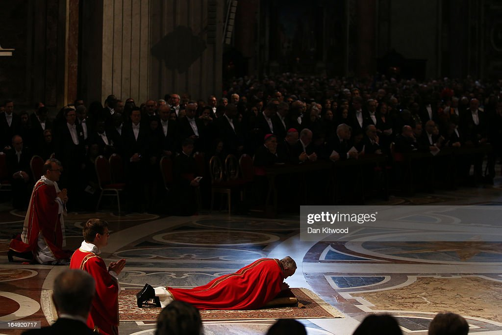 Pope Francis presides over a Papal Mass with the Celebration of the Lord's Passion inside St Peter's Basilica on March 29, 2013 in Vatican City, Vatican. Pope Francis is taking part in his first holy week as pontiff and will later today preside over the Way Of the Cross procession at the Colosseum in Rome.