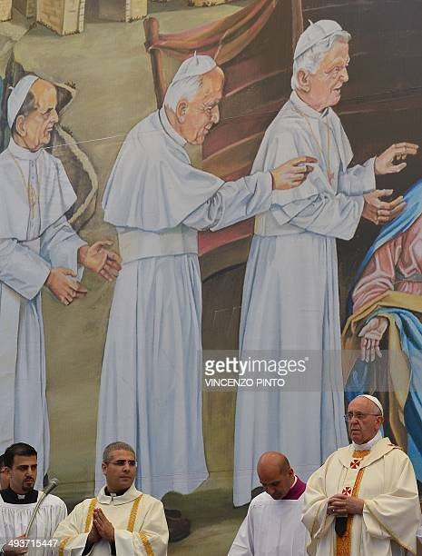 Pope Francis presides over an openair mass on May 25 2014 at the Manger Square outside the Church of the Nativity in the West Bank Biblical town of...