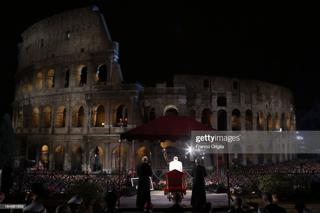 Pope Francis presides over the Way of The Cross procession at the Colosseum on Good Friday March 29, 2013 in Rome, Italy. Pope Francis is taking part in his first holy week as pontiff. The traditional Catholic procession of Via Crucis on Good Friday recalls the crucifixion of Jesus Christ with Holy Week ending with the celebration of Jesus Christ's resurrection on Easter Sunday.