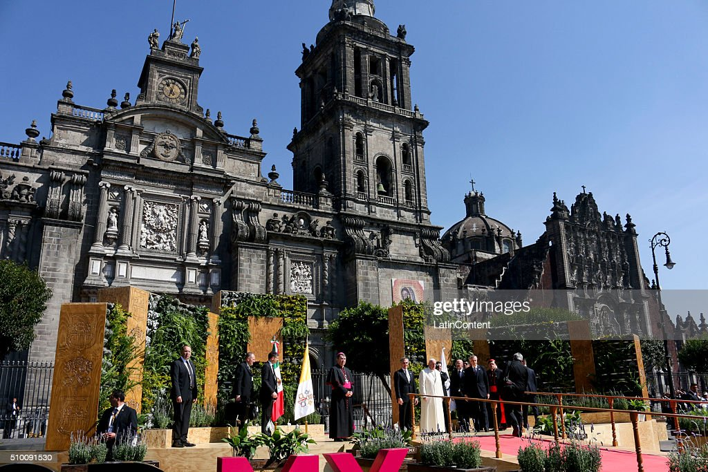 <a gi-track='captionPersonalityLinkClicked' href=/galleries/search?phrase=Pope+Francis&family=editorial&specificpeople=2499404 ng-click='$event.stopPropagation()'>Pope Francis</a> receives a recognition as a distinguished guest from Mexico City's Mayor Miguel Angel Mancera during the Pope's arrival to the National Cathedral in Mexico City on February 13, 2016 in Mexico City, Mexico. <a gi-track='captionPersonalityLinkClicked' href=/galleries/search?phrase=Pope+Francis&family=editorial&specificpeople=2499404 ng-click='$event.stopPropagation()'>Pope Francis</a> is on a five days visit in Mexico from February 12 to 17 where he is expected to visit five states.