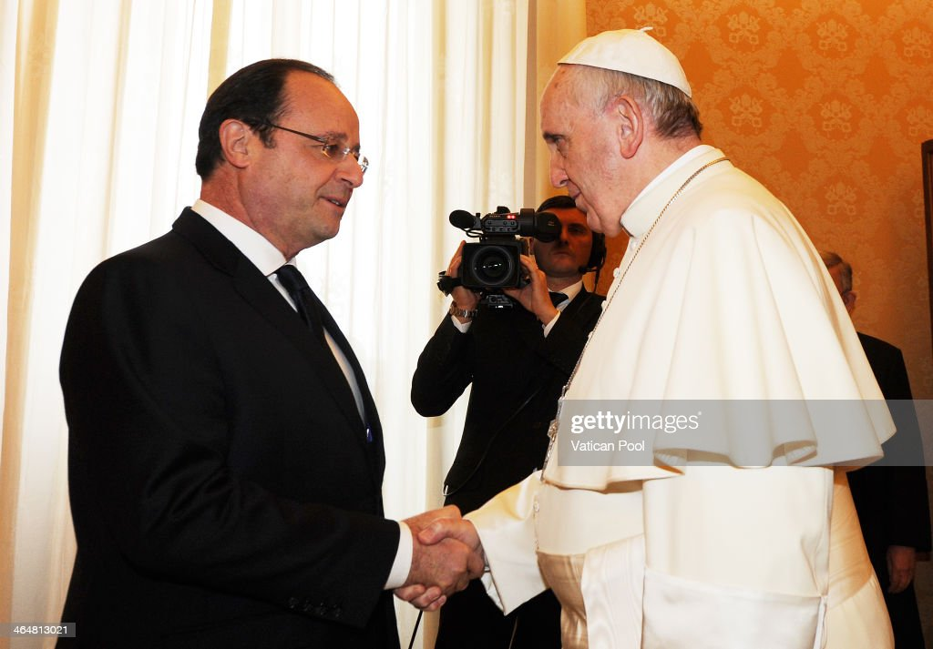 Pope Francis receives French President Francois Hollande in a private audience at his studio on January 24 2014 in Vatican City Vatican The French...