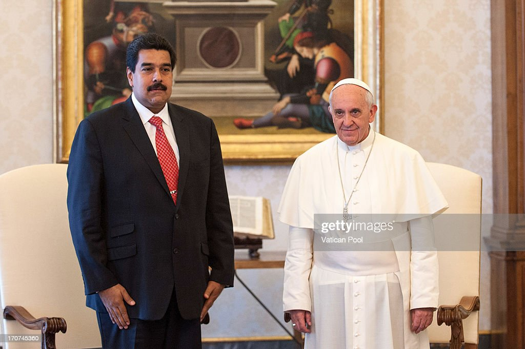 Pope Francis receives in audience at his studio <a gi-track='captionPersonalityLinkClicked' href=/galleries/search?phrase=Nicolas+Maduro&family=editorial&specificpeople=767093 ng-click='$event.stopPropagation()'>Nicolas Maduro</a> Moros, president of the Bolivarian Republic of Venezuela on June 17, 2013 in Vatican City, Vatican. During the talks topics focused on the country's social and political situation after the recent death of President Hugo Chavez Frias, as well as current issues such as poverty and the fight against crime and drug trafficking.