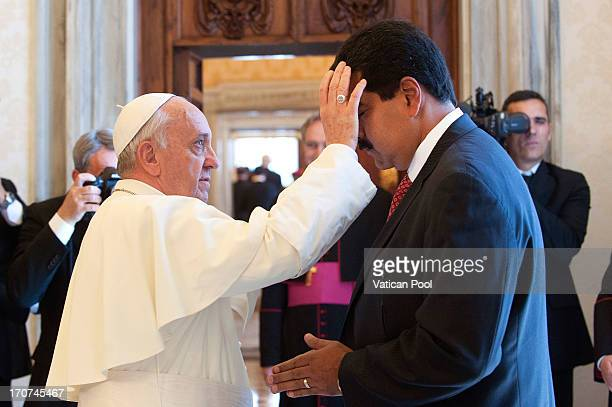 Pope Francis receives in audience at his studio Nicolas Maduro Moros president of the Bolivarian Republic of Venezuela on June 17 2013 in Vatican...