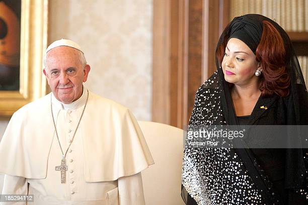 Pope Francis receives in audience Cameroon President Paul Biya and his wife Chantal Biya at Vatican Apostolic Palace on October 18 2013 in Vatican...
