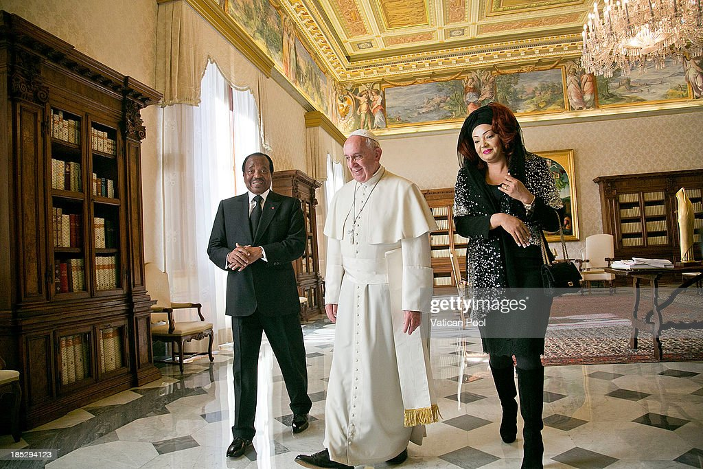 <a gi-track='captionPersonalityLinkClicked' href=/galleries/search?phrase=Pope+Francis&family=editorial&specificpeople=2499404 ng-click='$event.stopPropagation()'>Pope Francis</a> receives in audience Cameroon President <a gi-track='captionPersonalityLinkClicked' href=/galleries/search?phrase=Paul+Biya&family=editorial&specificpeople=584630 ng-click='$event.stopPropagation()'>Paul Biya</a> and his wife <a gi-track='captionPersonalityLinkClicked' href=/galleries/search?phrase=Chantal+Biya&family=editorial&specificpeople=2564638 ng-click='$event.stopPropagation()'>Chantal Biya</a> at Vatican Apostolic Palace on October 18, 2013 in Vatican City, Vatican. During the colloquial discussions, satisfaction was expressed for good existing bilateral relations. Finally, attention was turned to various challenges relating to sub-Saharan Africa,emphasising Cameroon's commitment to security and peace in the Region.