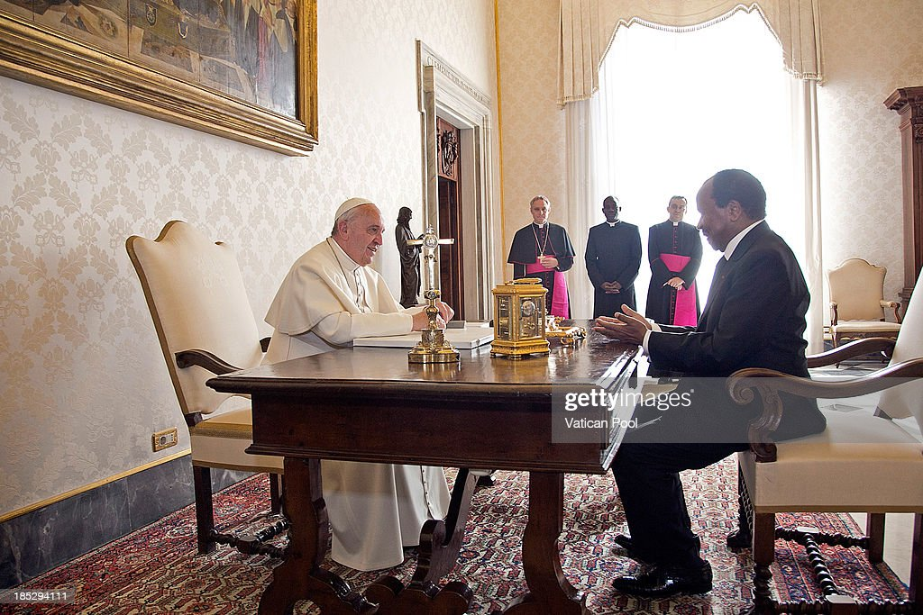 <a gi-track='captionPersonalityLinkClicked' href=/galleries/search?phrase=Pope+Francis&family=editorial&specificpeople=2499404 ng-click='$event.stopPropagation()'>Pope Francis</a> receives in audience Cameroon President <a gi-track='captionPersonalityLinkClicked' href=/galleries/search?phrase=Paul+Biya&family=editorial&specificpeople=584630 ng-click='$event.stopPropagation()'>Paul Biya</a> at Vatican Apostolic Palace on October 18, 2013 in Vatican City, Vatican. During the colloquial discussions, satisfaction was expressed for good existing bilateral relations. Finally, attention was turned to various challenges relating to sub-Saharan Africa,emphasising Cameroon's commitment to security and peace in the Region.