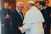 Pope Francis receives in audience Palestinian President Mahmud Abbas also known as Abu Mazen on October 17 2013 in Vatican City Vatican Palestinian...