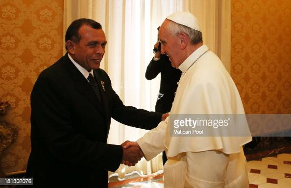 Pope Francis receives in audience with Honduras President Porfirio Lobo Sosa on September 20 2013 in Vatican City Vatican