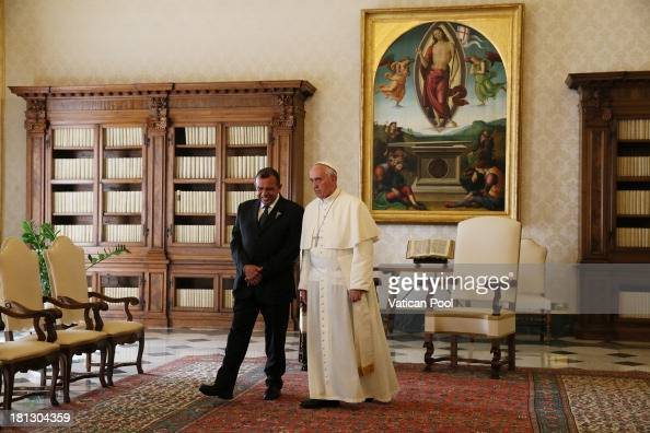 Pope Francis receives in audience with the Honduras President Porfirio Lobo Sosa on September 20 2013 in Vatican City Vatican