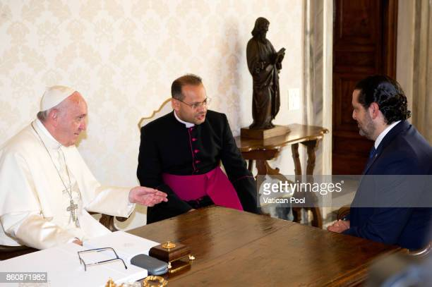 Pope Francis receives Lebanon Prime Minister Saad Hariri in a private audience at the Apostolic Palace on October 13 2017 in Vatican City Vatican...