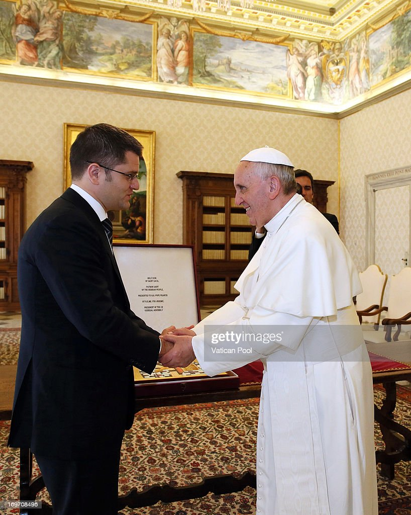 Pope Francis receives President of the United Nations General Assembly <a gi-track='captionPersonalityLinkClicked' href=/galleries/search?phrase=Vuk+Jeremic&family=editorial&specificpeople=4292588 ng-click='$event.stopPropagation()'>Vuk Jeremic</a> at his private library May 31, 2013 in Vatican City, Vatican. Human trafficking and the continued tension in the Middle East were the focus of Pope Francis' concerns in discussions with the President of the United Nations General Assembly, Serbian native, <a gi-track='captionPersonalityLinkClicked' href=/galleries/search?phrase=Vuk+Jeremic&family=editorial&specificpeople=4292588 ng-click='$event.stopPropagation()'>Vuk Jeremic</a>.