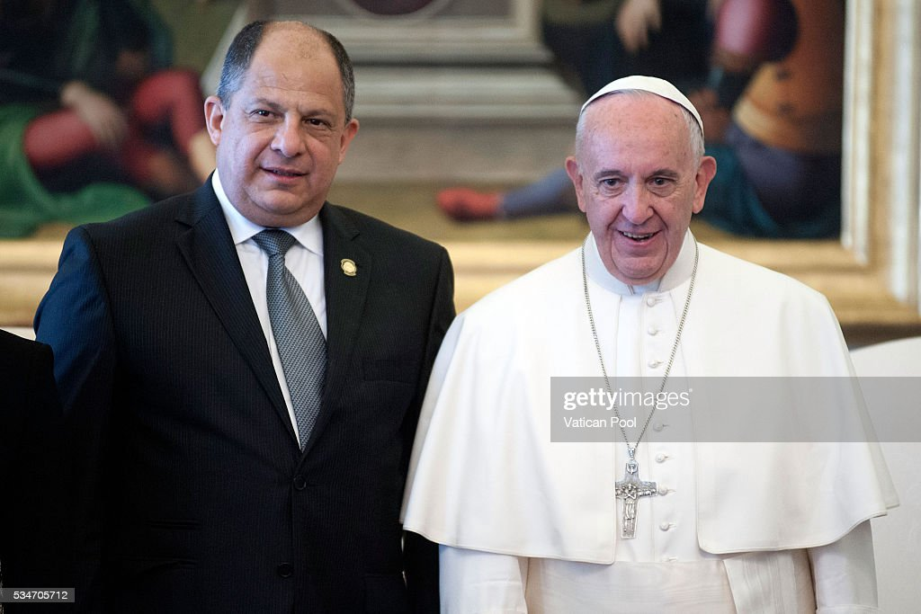 Pope Francis receives the President of Costa Rica, Luis Guillermo Sols Rivera in a private audience at the Apostolic Palace on May 27, 2016 in Vatican City, Vatican. The two leaders spoke about several themes of common interest, including the protection of human life, migration, and drug trafficking.