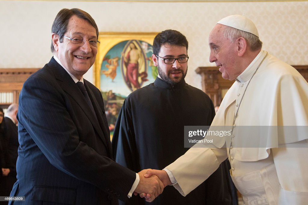 <a gi-track='captionPersonalityLinkClicked' href=/galleries/search?phrase=Pope+Francis&family=editorial&specificpeople=2499404 ng-click='$event.stopPropagation()'>Pope Francis</a> (R) receives the President of the Republic of Cyprus (L), <a gi-track='captionPersonalityLinkClicked' href=/galleries/search?phrase=Nicos+Anastasiades&family=editorial&specificpeople=10113933 ng-click='$event.stopPropagation()'>Nicos Anastasiades</a> at the Apostolic Palace on February 15, 2014 in Vatican City, Vatican. <a gi-track='captionPersonalityLinkClicked' href=/galleries/search?phrase=Pope+Francis&family=editorial&specificpeople=2499404 ng-click='$event.stopPropagation()'>Pope Francis</a> and the President of Cyprus held cordial discussions in which they covered a number of topics, including the role of religion in society and the importance of religious liberty. The leaders expressed satisfaction at the resumption of negotiations to end the four-decade division of the island between Greek and Turkish Cypriots.
